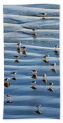 Ripples Of Sand Dotted With Plovers Bath Towel