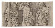 Risen Christ Between Saints Andrew And Longinus Bath Towel