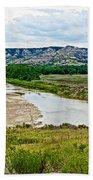 River Landscape In Northwest North Dakota  Bath Towel