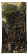 River Landscape In The Spring With Castle And Noblemen Bath Towel