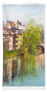 River Pegnitz In Nuremberg Old Town Germany Bath Towel