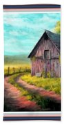 Road On The Farm Haroldsville L A With Decorative Ornate Printed Frame.  Bath Towel