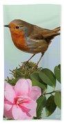 Robin And Camellia Flower Bath Towel