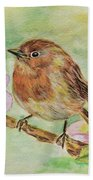 Robin In Flowers Bath Towel