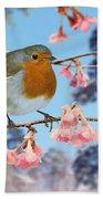 Robin On Winter Flowering Plum Bath Towel