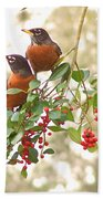 Robins In Holly Hand Towel