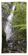 Rock Climbers At Graymare's Tail Falls Hand Towel