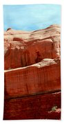 Rock Formation Of Red Sandstone Arches National Park Bath Towel