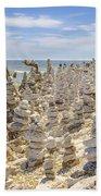 Rock Structures On Lake Michigan Bath Towel