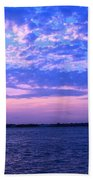 Rockaway Point Dock Sunset Violet Orange Bath Towel
