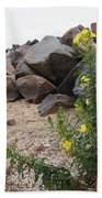 Rocks And Flowers Bath Towel