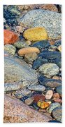Rocks Of Many Colors On Lake Superior Shoreline In Pictured Rocks National  Bath Towel