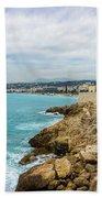 Rocky Coastline In Nice, France Bath Towel