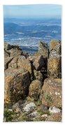 Rocky Mountain Summit Overlooking Beautiful Vally Bath Towel