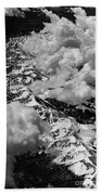 Rocky Mountains In Colorado With Snow Aerial Black And White Bath Towel