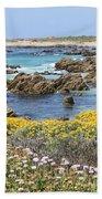 Rocky Surf With Wildflowers Bath Towel