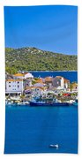 Rogoznica Harbor And Waterfront View Bath Towel
