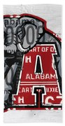 Roll Tide Alabama Crimson Tide Recycled State License Plate Art Hand Towel