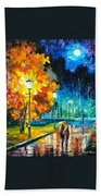 Romantic Night 2 - Palette Knife Oil Painting On Canvas By Leonid Afremov Bath Towel