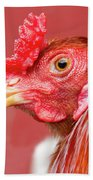 Rooster Close-up On A Reddish Background Bath Towel