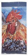 Rooster Country Painting On Blue  Bath Towel