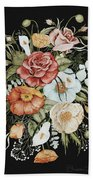 Roses And Poppies Bouquet Bath Towel