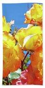 Roses Garden Summer Art Print Blue Sky Yellow Orange Bath Towel