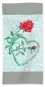 Roses Hearts And Lace Flowers Design  Bath Towel