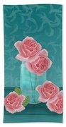 Roses In Clear Blue Jar Bath Towel
