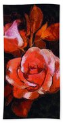 Roses Painted And Drawn Bath Towel
