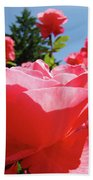 Roses Pink Rose Landscape Summer Blue Sky Art Prints Baslee Troutman Bath Towel