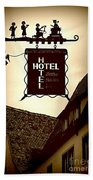 Rothenburg Hotel Sign - Digital Bath Towel