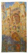 Rouen Cathedral, Facade, Sunset Bath Towel