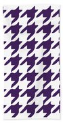 Rounded Houndstooth With Border In Purple Bath Towel