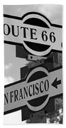 Route 66 Street Sign Black And White Bath Towel