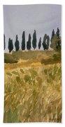 Row Of Cypress Trees, Tuscany Bath Towel
