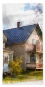 Row Of Houses Hardwick Vermont Watercolor Bath Towel