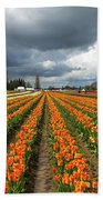 Rows Of Colorful Tulips At Festival Bath Towel