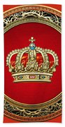 Royal Crown In Gold On Red  Bath Towel