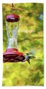 Ruby-throated Hummingbird 2 - Impasto Bath Towel