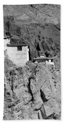 Ruins And Basgo Monastery Surrounded With Stones And Rocks Ladakh Bath Towel