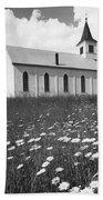 Rural Church In Field Of Daisies Bath Towel