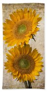Rustic Sunflowers Bath Towel