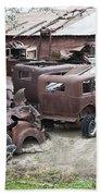 Rusting Antique Cars Bath Towel