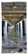 Rusty Pier  On The Ocean  From Below Bath Towel