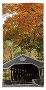 Saco River Covered Bridge Under Fall Foliage Bath Towel