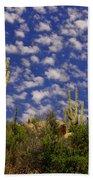 Saguaros Under A Cloud Dappled Sky Bath Towel