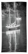 Sail Boat Yaht Parked At Harbor Bay Bath Towel