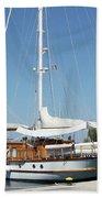 Sailboat In Harbor Summer Vacation Scene Bath Towel