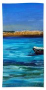 Sailboat Off Karpathos Greece Greek Islands Sailing Bath Towel